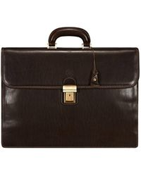 Maxwell Scott Bags Mens Fine Quality Leather 17-inch Laptop Briefcase - Brown