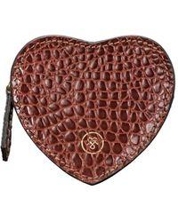 Maxwell Scott Bags Luxury Tan Crocodile Print Leather Heart Shaped Purse - Brown
