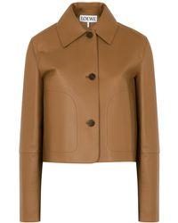 Loewe Brown Cropped Leather Jacket