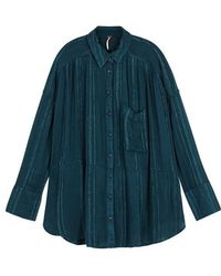 Free People - Cosy Nights Teal Oversized Shirt - Lyst