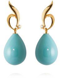 APPLES & FIGS 24k Vermeil Turquoise Earrings - Blue