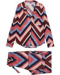Desmond & Dempsey Milou Printed Cotton Pajama Set - Pink