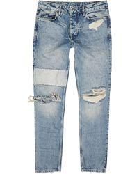 Ksubi Chitch Blue Distressed Slim-leg Jeans