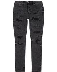 Ksubi Van Winkle Faded Black Distressed Skinny Jeans