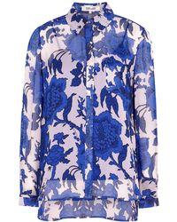 Diane von Furstenberg Lorelei Floral-print Georgette Shirt - Blue