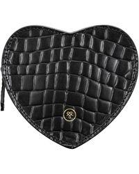 Maxwell Scott Bags Croc Print Leather Heart Shaped Handbag Organiser - Black
