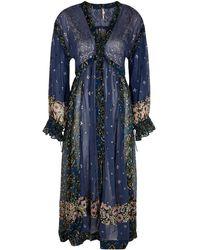 Free People Samira Embellished Georgette Maxi Shirt - Blue