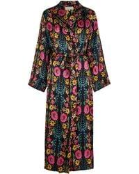 YOLKE Wildflower Printed Silk Robe - Black