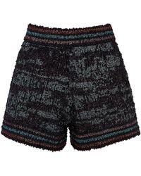 M Missoni Metallic-knit Tweed Shorts - Blue