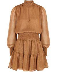 A.L.C. Silvie Lamé-weave Plissé Chiffon Mini Dress - Black