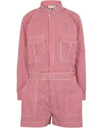 Plan C - Striped Cotton-poplin Playsuit - Lyst