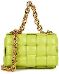 Bottega Veneta The Chain Cassette White Leather Cross-body Bag - Green