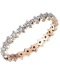 Kismet by Milka 14ct Rose Gold And Diamond Multi Star Ring - Metallic
