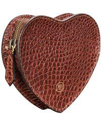 Maxwell Scott Bags Tan Croc Embossed Leather Heart Handbag Organiser - Brown