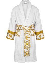Versace White Logo-flocked Cotton Robe