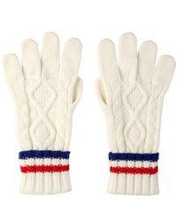Johnstons Aran Knit Mens Ecru Cashmere Gloves - Multicolor