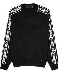 DSquared² - Black Logo-jacquard Wool-blend Jumper - Lyst
