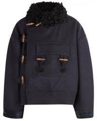 AF AGGER Navy Wool Coat - Blue
