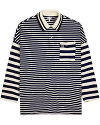 Loewe Striped Knitted Cotton Polo Shirt - Blue