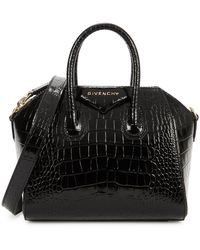 Givenchy Antigona Mini Crocodile-effect Leather Top Handle Bag - Black