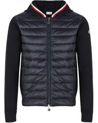 Details about Mens Moncler Amiens Navy Body Warmer with Stripe Trim Hood