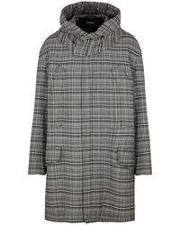 Raf Simons - Monochrome Checked Tweed Coat - Lyst