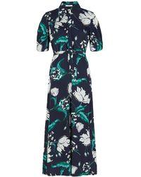 Erdem Edwin Floral-print Twill Jumpsuit - Blue