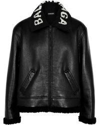 Balenciaga Black Logo Leather Jacket