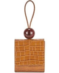 BY FAR Brown Crocodile-effect Top Handle Bag