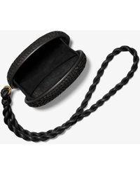 Michael Kors Joni Hand-woven Leather Minaudiere - Black