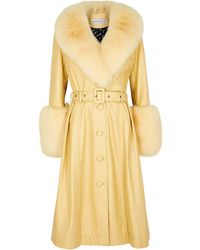 Saks Potts Foxy Yellow Fur-trimmed Leather Coat