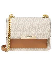 MICHAEL Michael Kors Jade Extra-small Logo And Leather Crossbody Bag - Natural