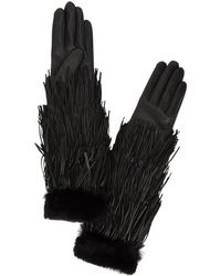 Agnelle - Rabbit Fur Trimmed Tassel Gloves - Lyst