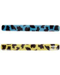Valet Studio Novi Leopard-print Hair Clips - Set Of Two - Blue