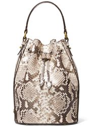 Michael Kors Monogramme Medium Python Embossed Leather Bucket Bag - Natural