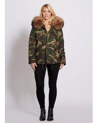 Popski London Camouflage Parka Jacket With Raccoon Fur Collar Natural - Multicolour