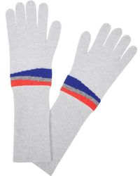 Duffy - Grey Stripe-intarsia Cashmere Gloves - Lyst