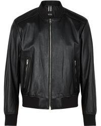 HUGO Nalban Leather Bomber Jacket - Black