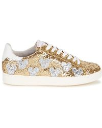 MOA - Mickey Patch Gold Glittered Trainers - Lyst