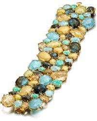 Mozafarian Bracelet With Precious Stones - Yellow