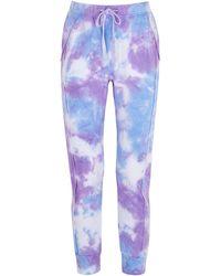 Free People Work It Out Tie-dye Cotton-blend Joggers - Purple