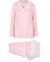 Sleeper Party Checked Feather-trimmed Pajamas - Pink