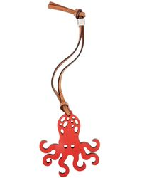 Loewe X Paula's Ibiza Octopus Leather Charm - Red
