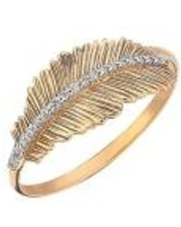 Kismet by Milka 14ct Rose Gold And Diamond Feather Ring - Metallic