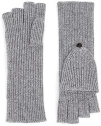 Theory Fold-back Gloves In Cashmere - Grey
