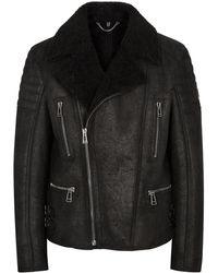 Belstaff Fraser Black Shearling Biker Jacket