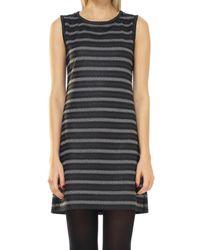 Leon Max - Coated Tonal Striped Knit Shift Dress - Lyst