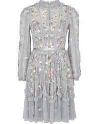 Needle & Thread - Wallflower Blue Embroidered Tulle Dress - Lyst