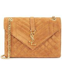 Saint Laurent Envelope Brown Suede Shoulder Bag