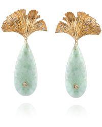 APPLES & FIGS - Sea Foam Blue Onyx & Gold Ginkgo Leaf Earrings - Lyst